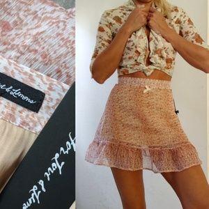 Nwt For Love & Lemons sheer silk ethereal skirt S